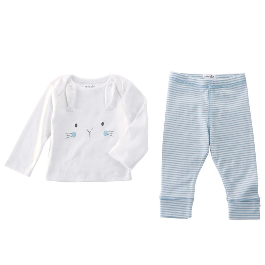 Mud Pie Blue Bunny Pant Set