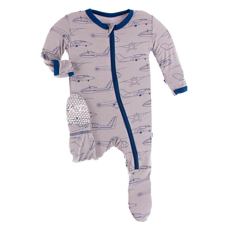 Print Footie with Zipper in Feather Heroes in the Air  - Doodlebug's Children's Boutique