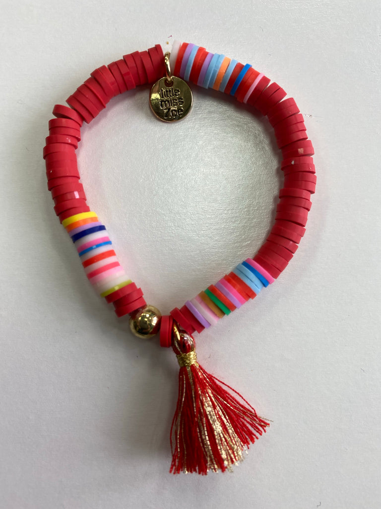 Bracelet with Tassel Red with Red and Gold Tassel - Doodlebug's Children's Boutique