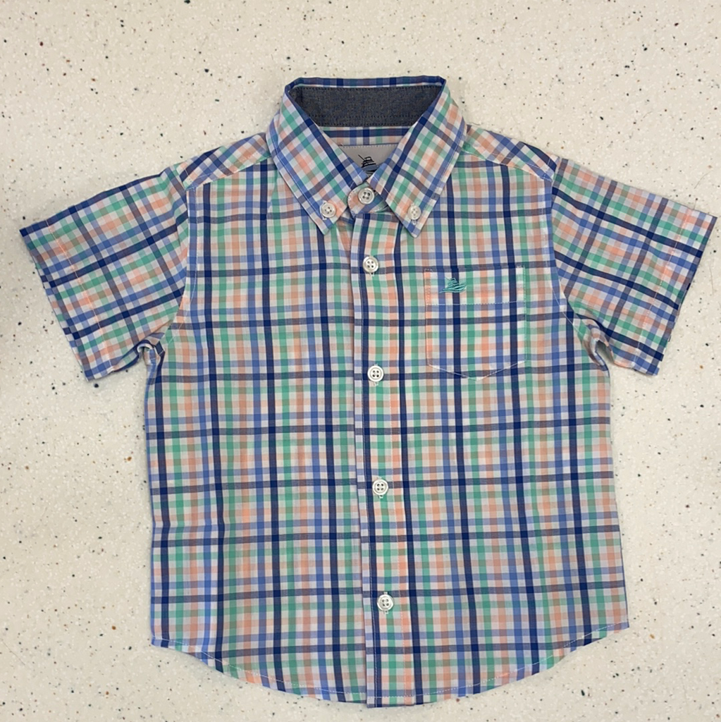 Short Sleeved Dress Shirt in Blue Multi  - Doodlebug's Children's Boutique