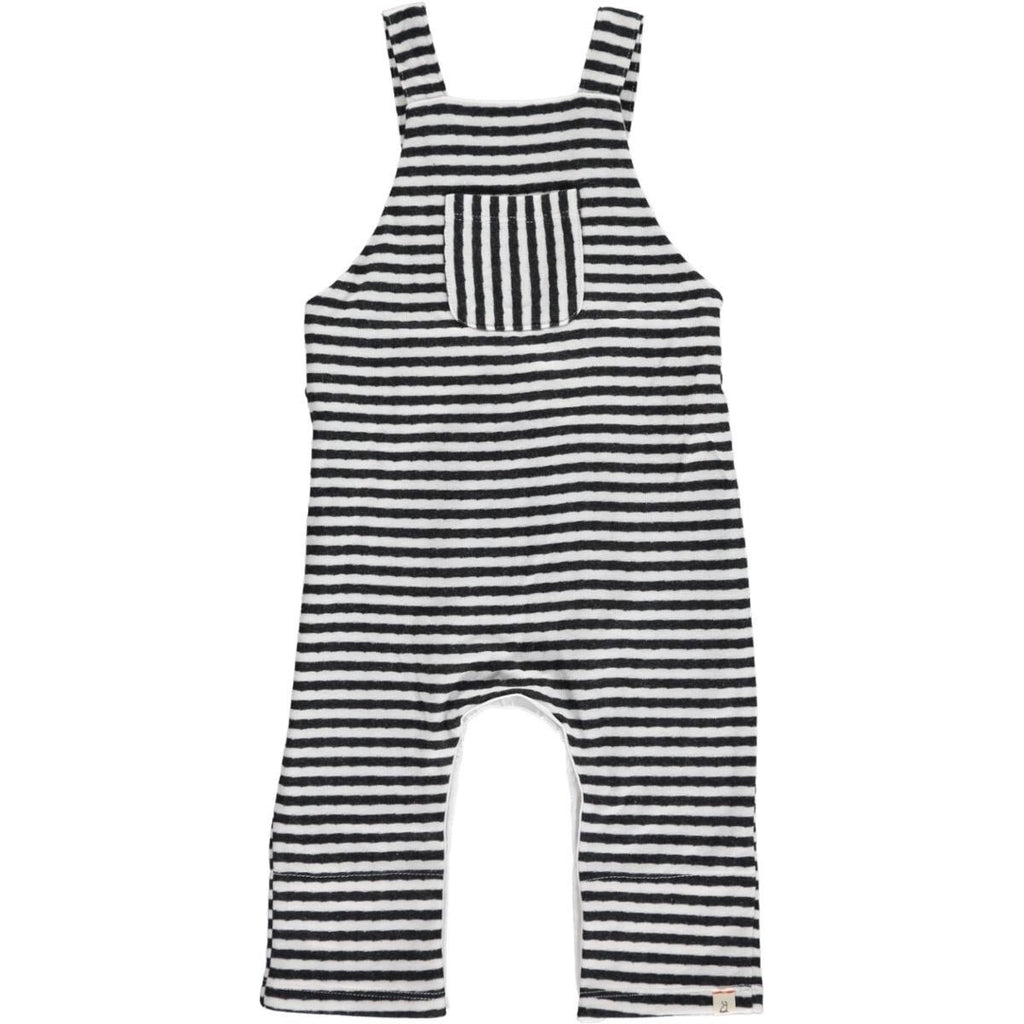 Striped Overalls in Grey and White  - Doodlebug's Children's Boutique