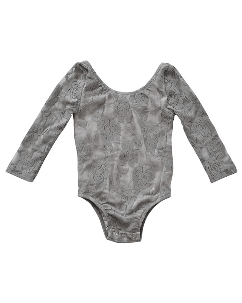 Bailey's Blossoms Grey Lace Leotard