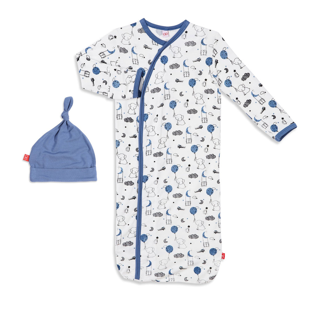Blue Skylark Magnetic Modal Sack Gown and Hat Set Blue Skylark / Newborn-3 months - Doodlebug's Children's Boutique