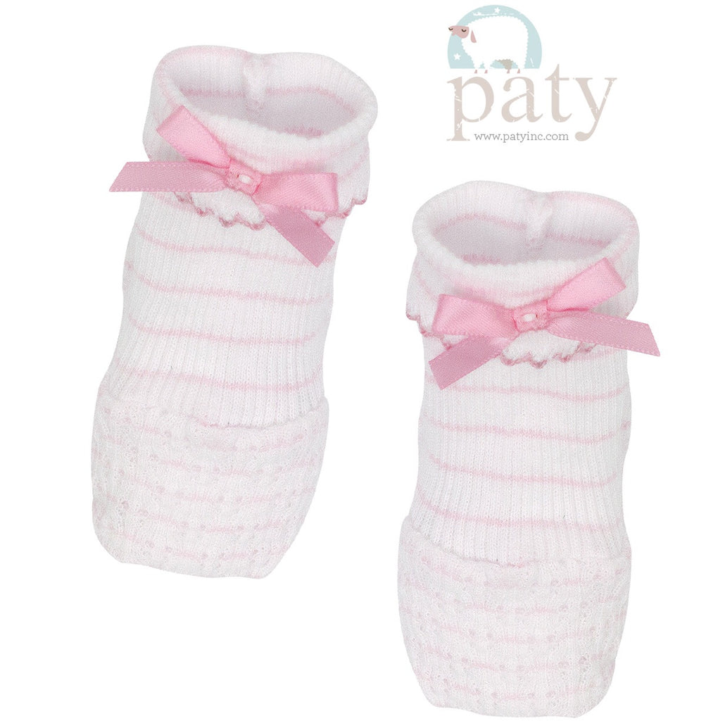 Pink Pinstripe Booties  - Doodlebug's Children's Boutique