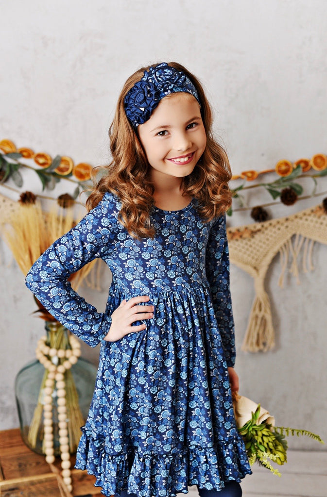 Midnight Bloom Butter Knit Dress with Legging and Headband  - Doodlebug's Children's Boutique