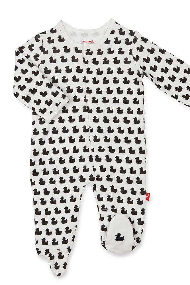 Quack N Roll Organic Cotton Magnetic Footie  - Doodlebug's Children's Boutique