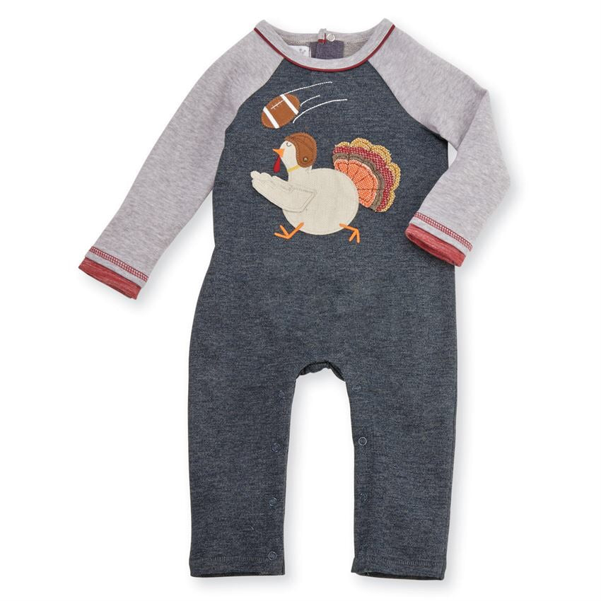 Turkey Football One-Piece  - Doodlebug's Children's Boutique
