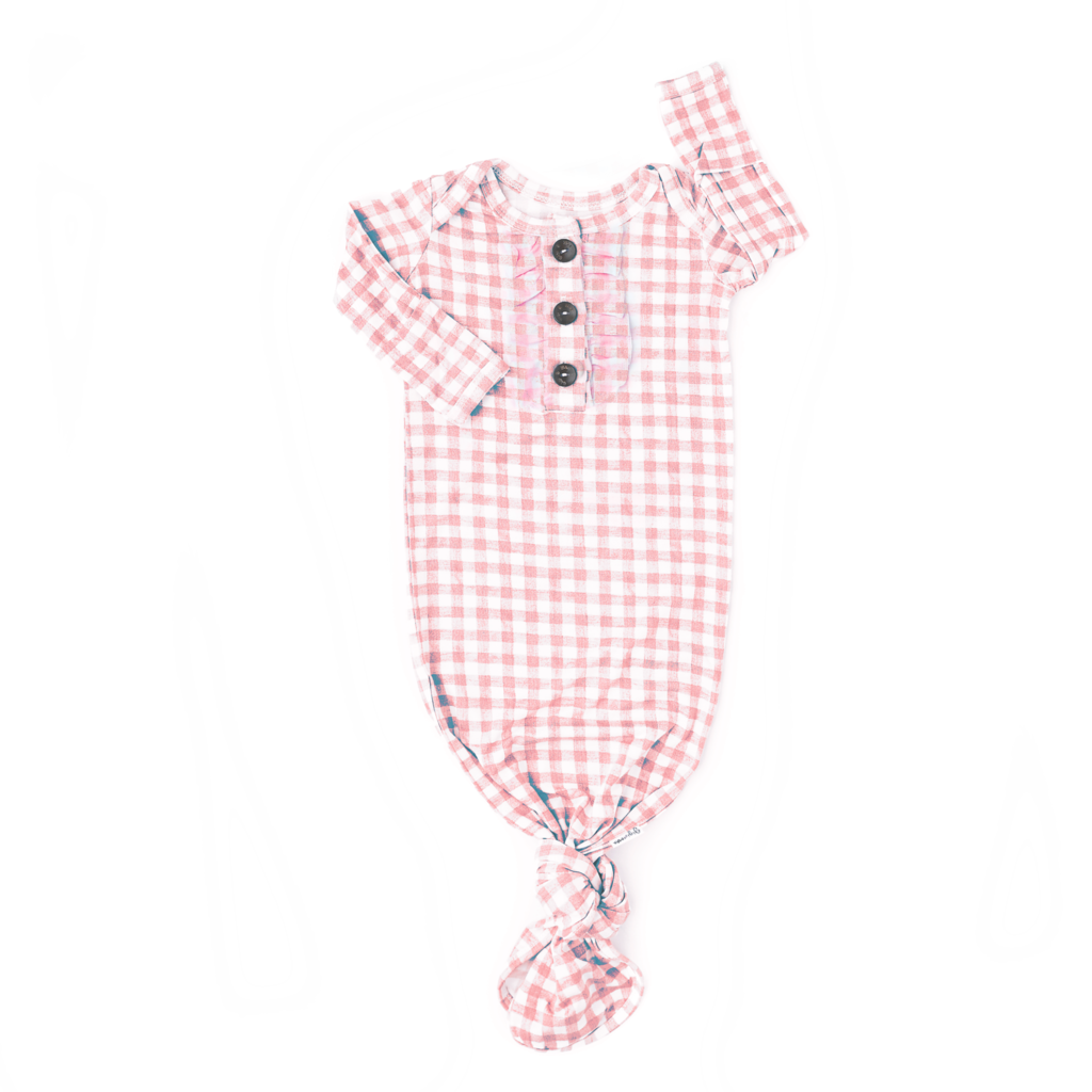 Addison Signature Tie Button Gown with Ruffle  - Doodlebug's Children's Boutique