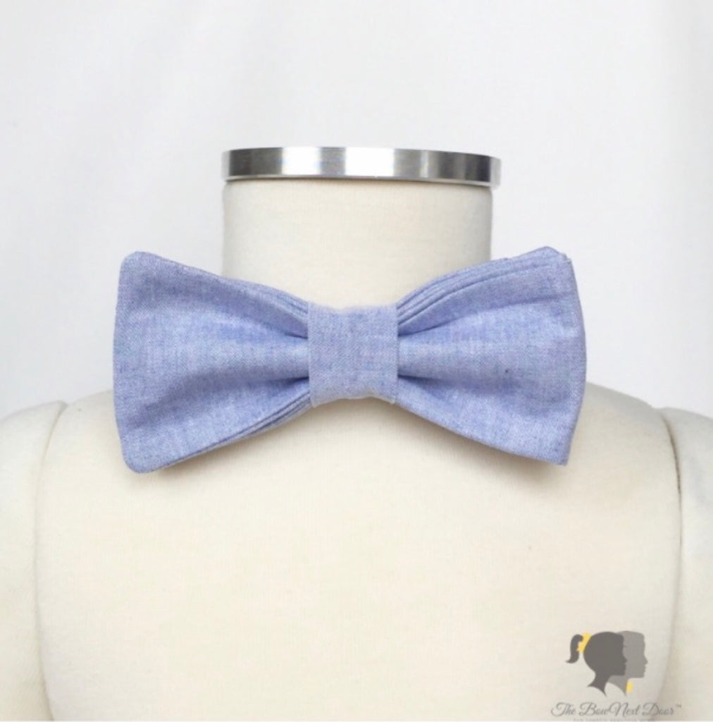 Carter Bow Tie in Chambray Chambray - Doodlebug's Children's Boutique