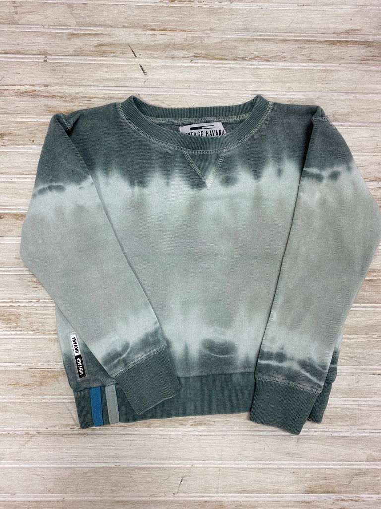Grey Burnout Tie Dye Crewneck  - Doodlebug's Children's Boutique