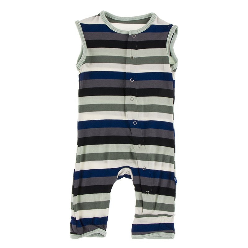 Print Tank Romper in Zoology Stripe  - Doodlebug's Children's Boutique