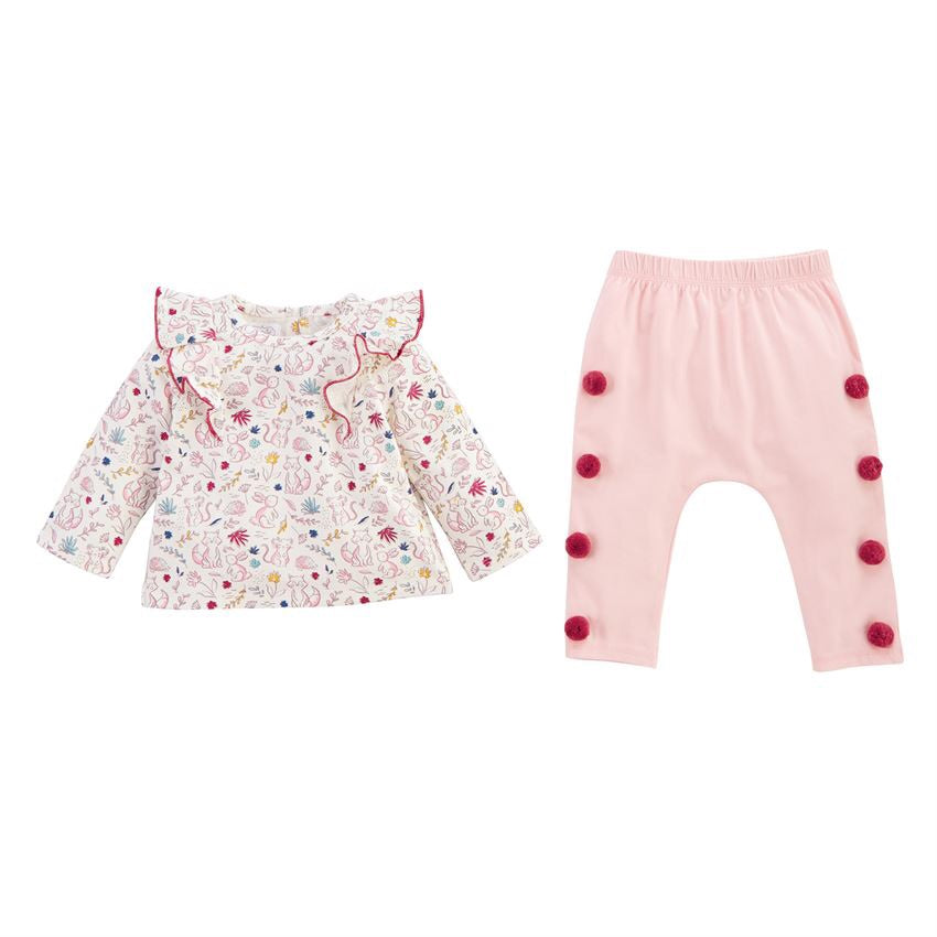 Mud Pie Pink Forest Two-Piece Set