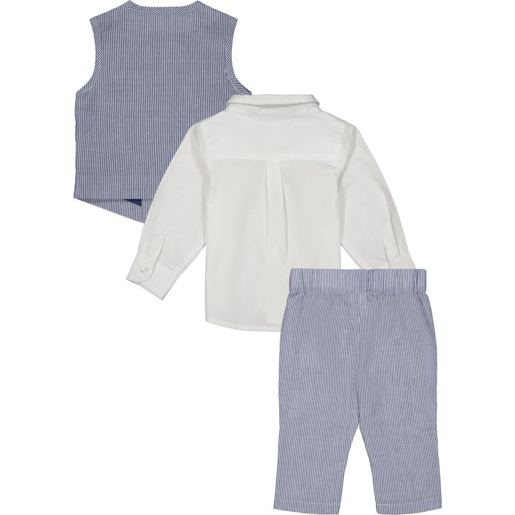 Blue Seersucker Vest Set  - Doodlebug's Children's Boutique