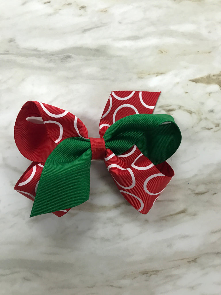 Christmas Green and Red Circles Small Bow Green/Red Circles - Doodlebug's Children's Boutique