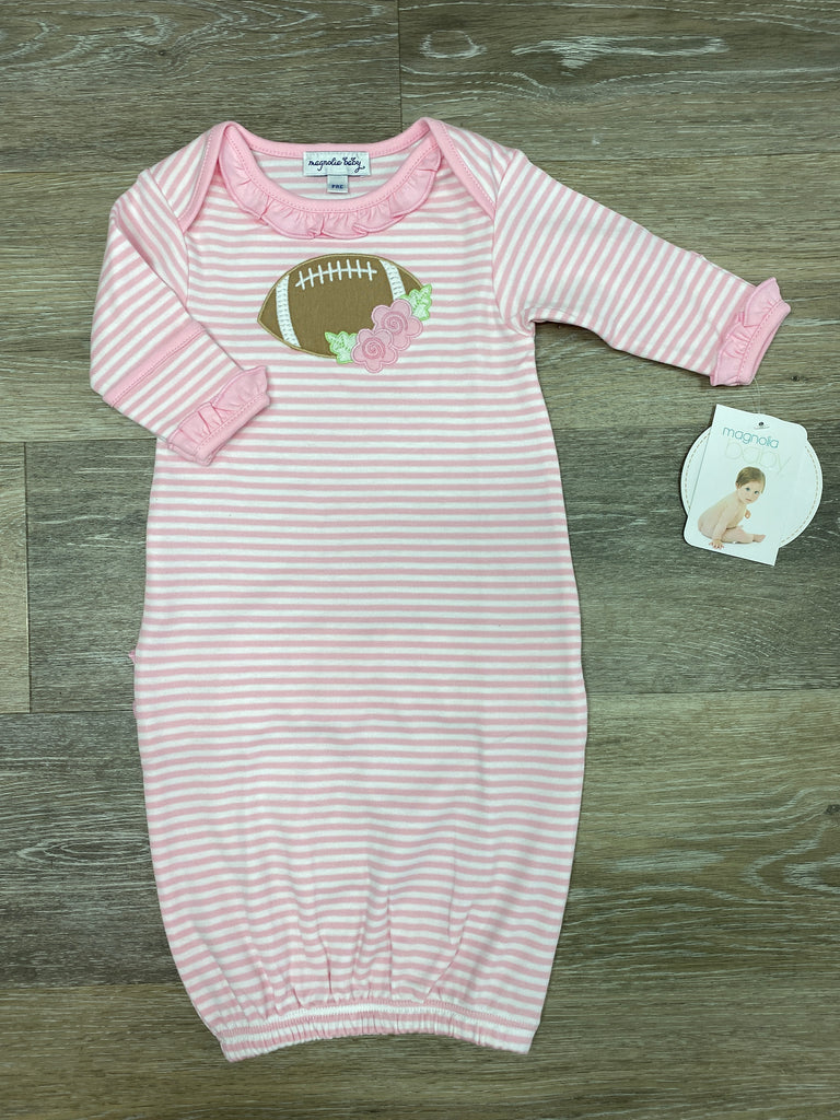 Football Fan Applique Ruffle Gown  - Doodlebug's Children's Boutique