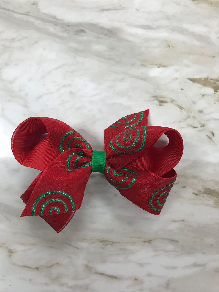 Christmas Circles Small Bow Red/Green Glitter - Doodlebug's Children's Boutique
