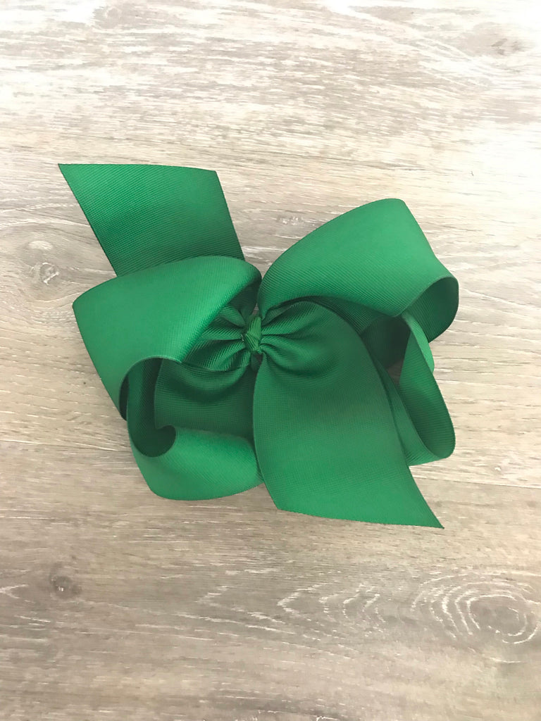 Large Solid Hair Bow in Green Kelly Green - Doodlebug's Children's Boutique