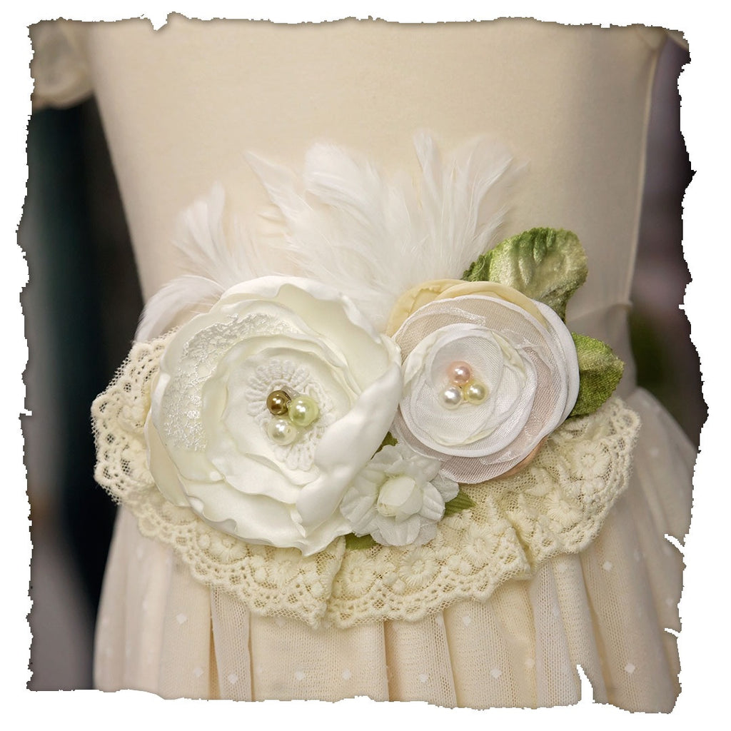 Frilly Frocks Ivory and Green Sash