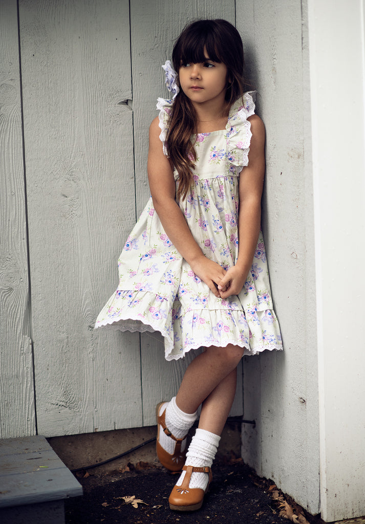 Tangerine Dress in Lilac Fields  - Doodlebug's Children's Boutique