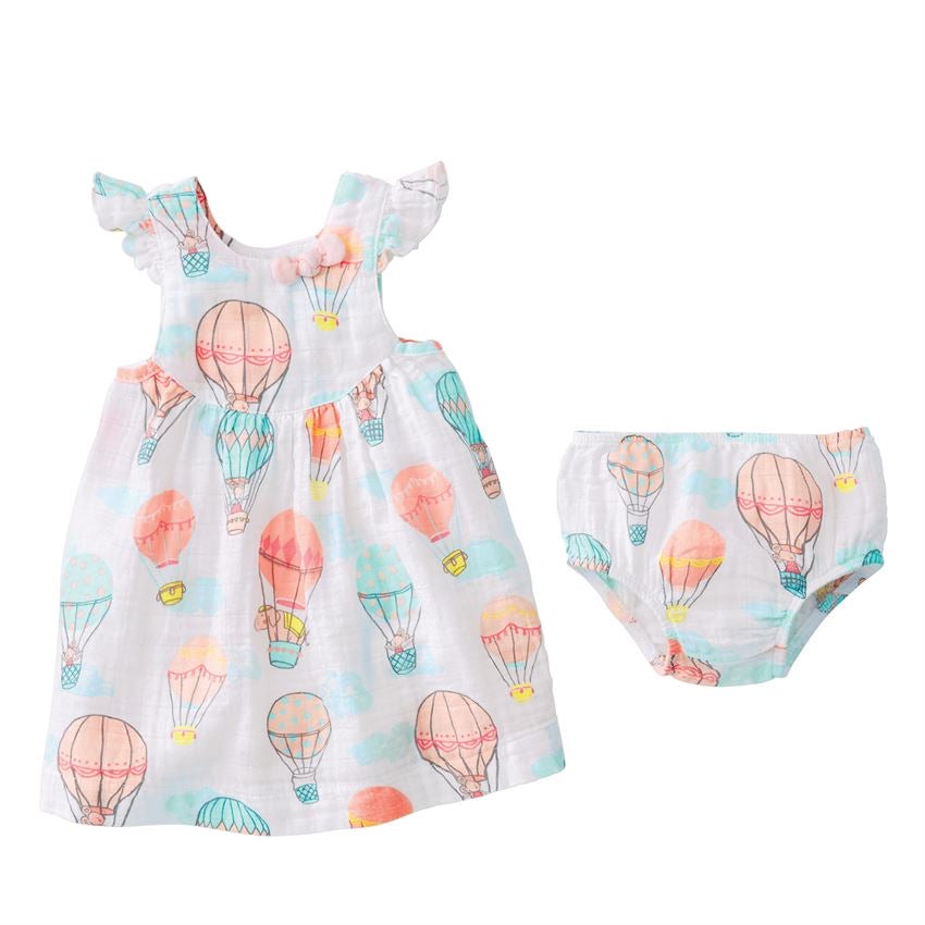 Balloon Muslin Dress and Bloomer Set  - Doodlebug's Children's Boutique