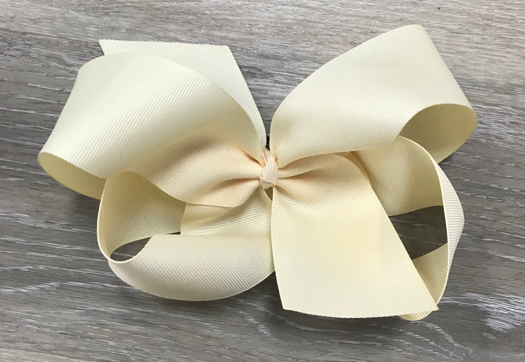 Large Solid Hair Bow in Ivory  - Doodlebug's Children's Boutique