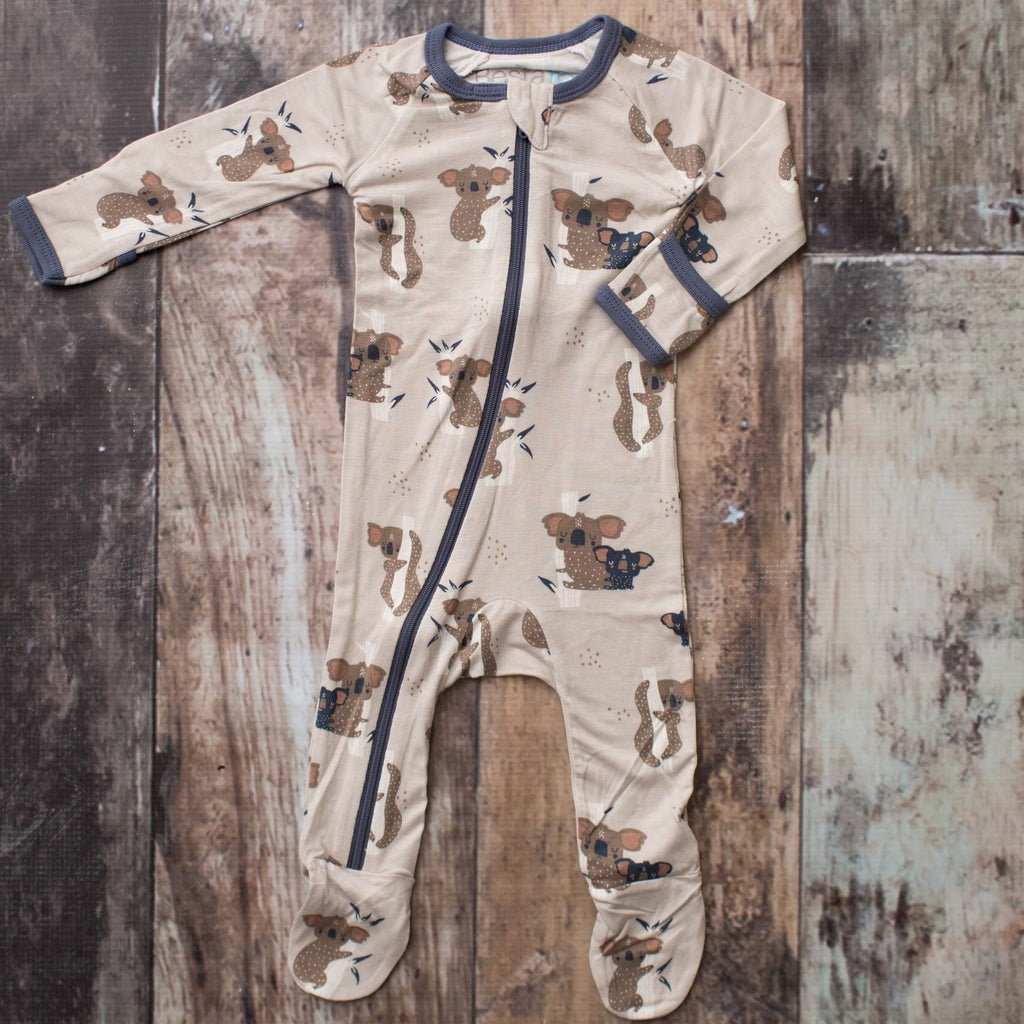 Koala Boy Zippered Footie  - Doodlebug's Children's Boutique