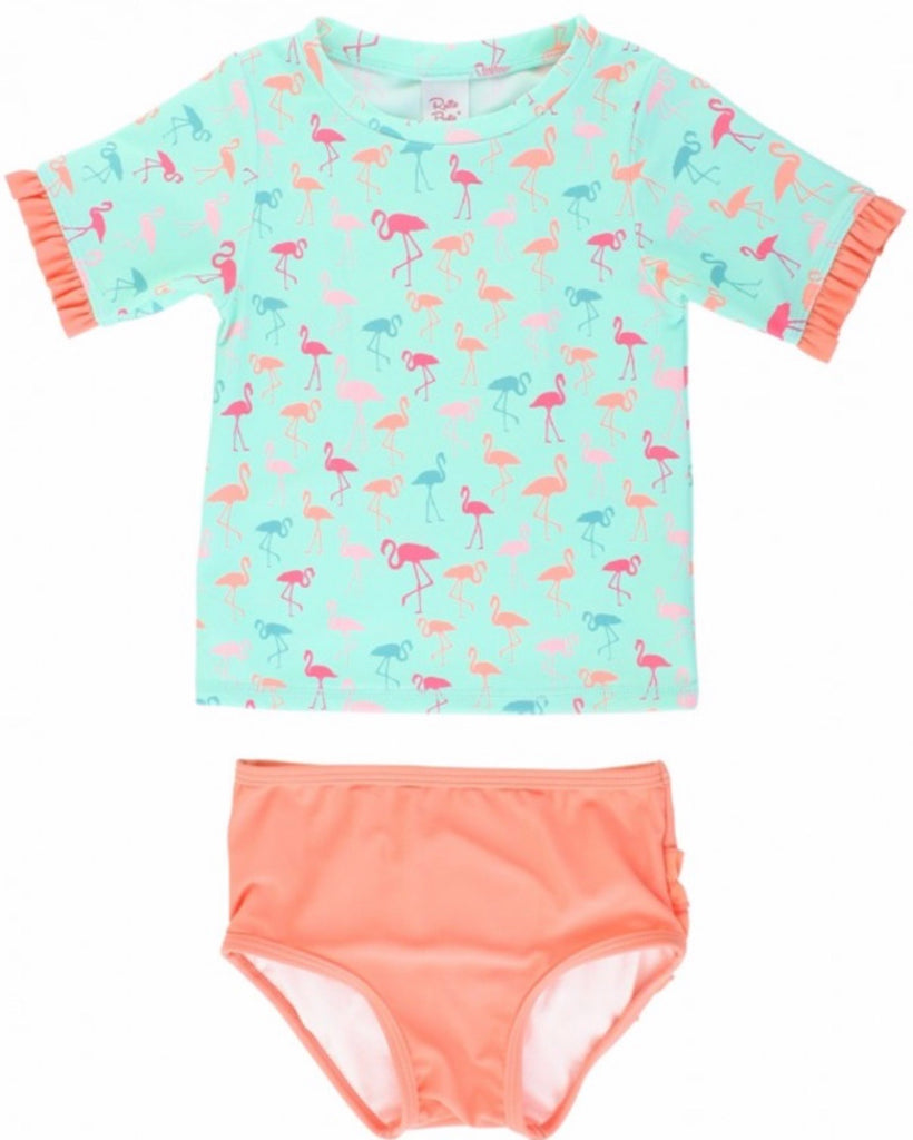 Ruffle Butts Flamingo Beach Mid-Sleeve Bikini