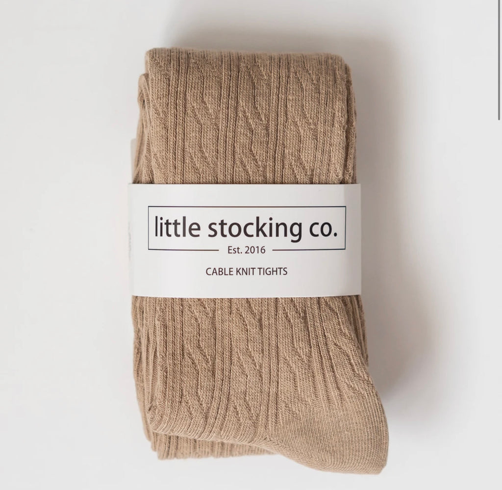 Cable Knit Tights in Oat  - Doodlebug's Children's Boutique