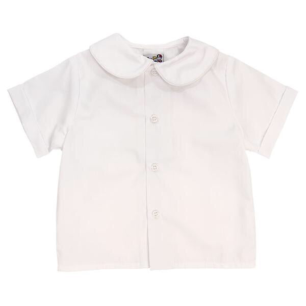 Peter Pan Collar Piped Short Sleeve Shirt  - Doodlebug's Children's Boutique