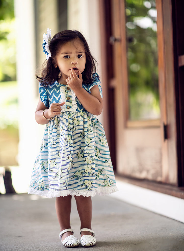 Dylan Dress in Nautical Summer  - Doodlebug's Children's Boutique