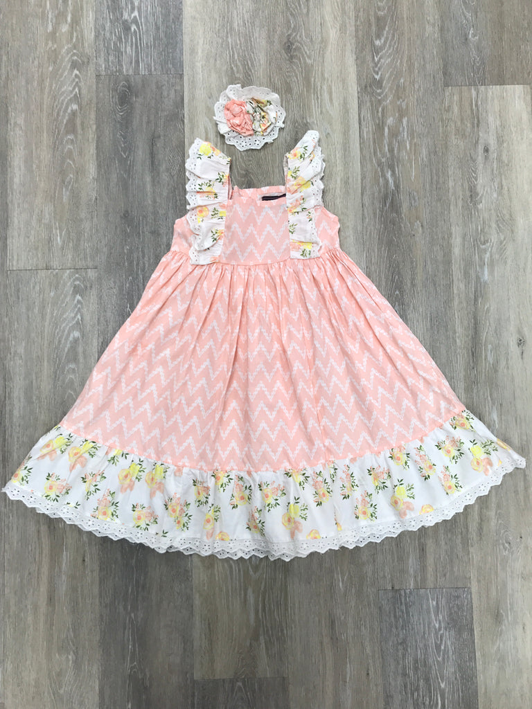 Tangerine Dress in Honey Blossom 3T - Doodlebug's Children's Boutique