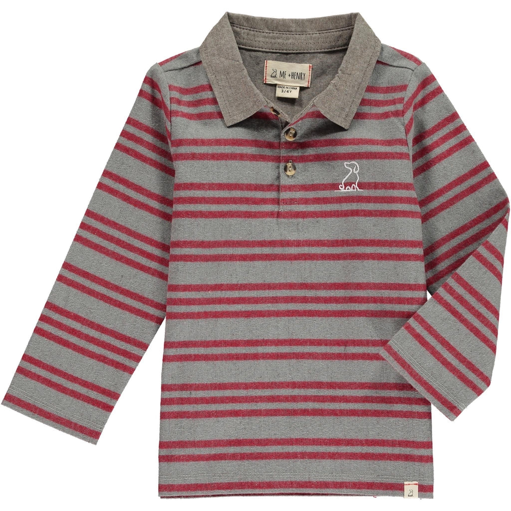 Grey and Red Stripe Long-Sleeved Rugby Shirt  - Doodlebug's Children's Boutique
