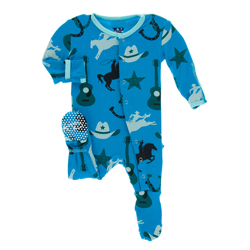 Print Footie with Zipper in Amazon Cowboy  - Doodlebug's Children's Boutique