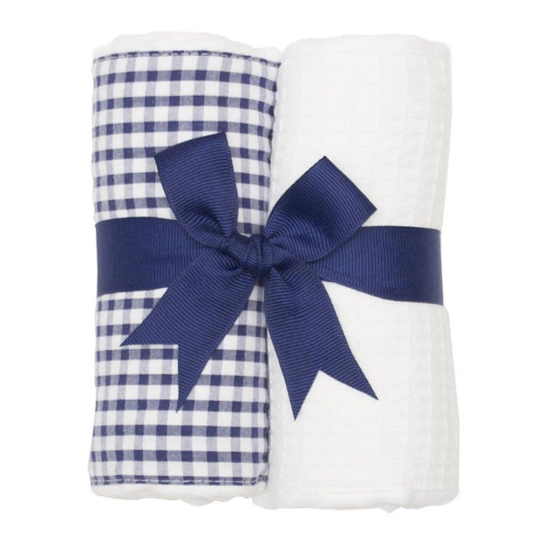 Navy Check and White 2 Pack Burp Pad Set Navy Check and White - Doodlebug's Children's Boutique