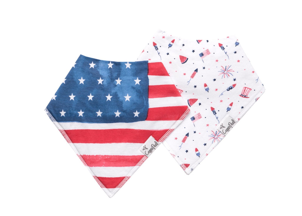 Copper Pearl 2-Pack Bandana Bibs Patriot - Doodlebug's Children's Boutique