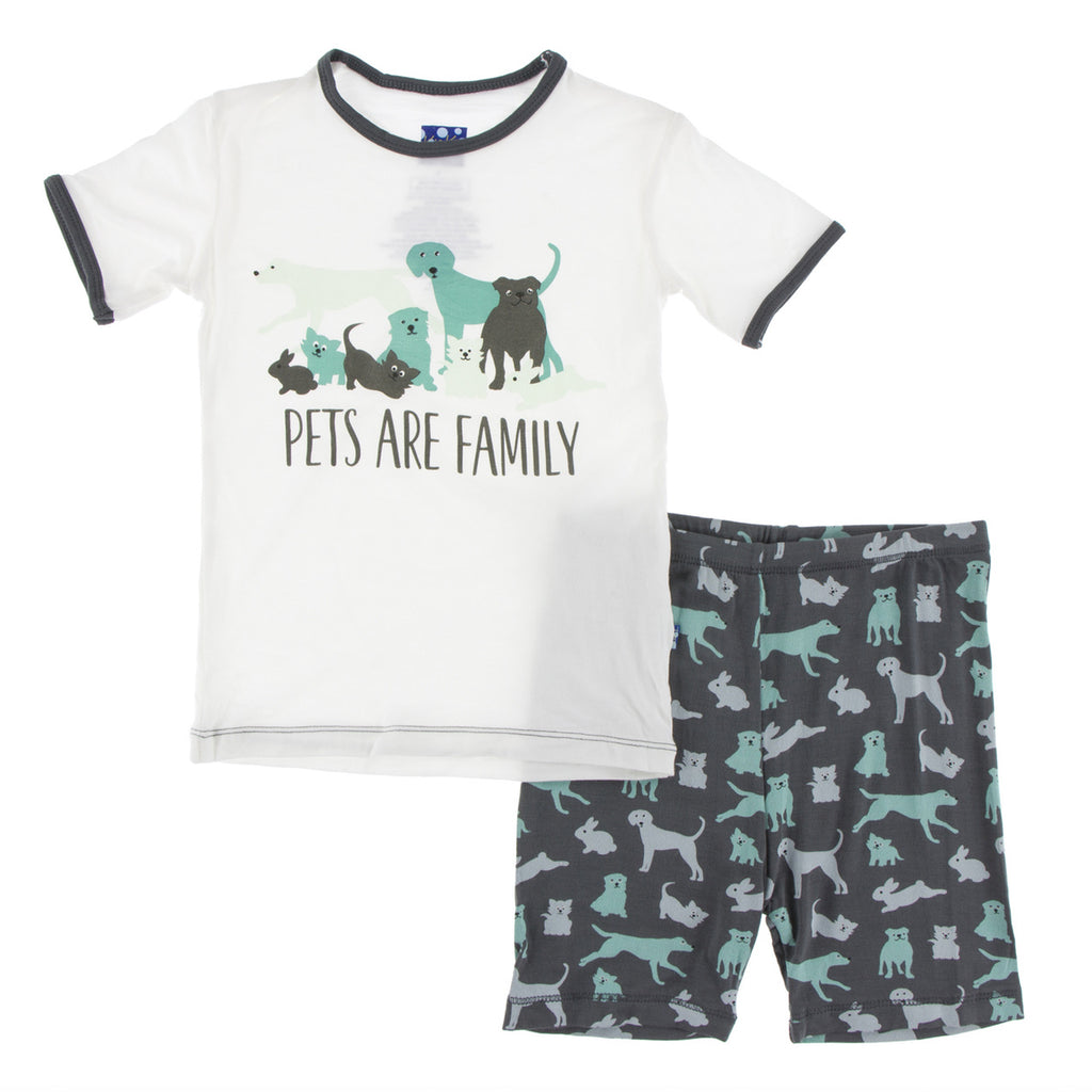 Piece Print Short Sleeve Pajama Set with Shorts in Stone Domestic Animals  - Doodlebug's Children's Boutique