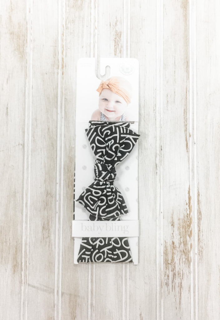 Black Alphabet Soup Knot Headband  - Doodlebug's Children's Boutique