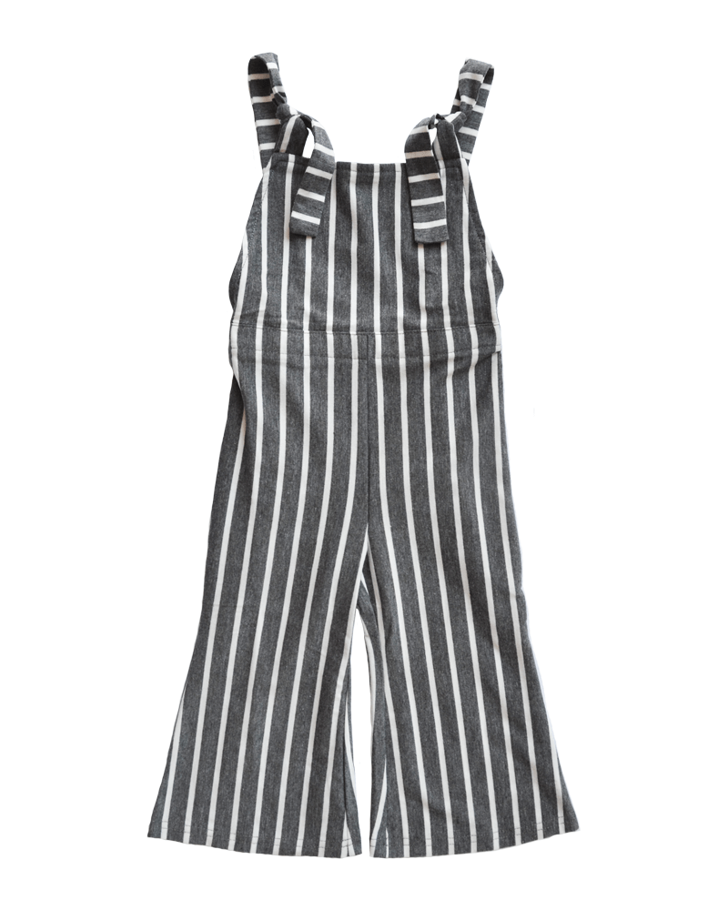 Bailey's Blossoms Grey Stripe Bell Bottom Jumpsuit
