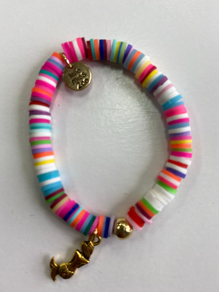 Bracelet with Gold Charm Multi with Mermaid Charm - Doodlebug's Children's Boutique