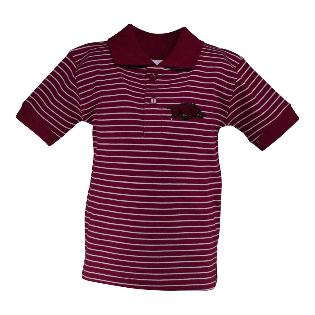 Arkansas Razorback Striped Polo Crimson / 2T - Doodlebug's Children's Boutique