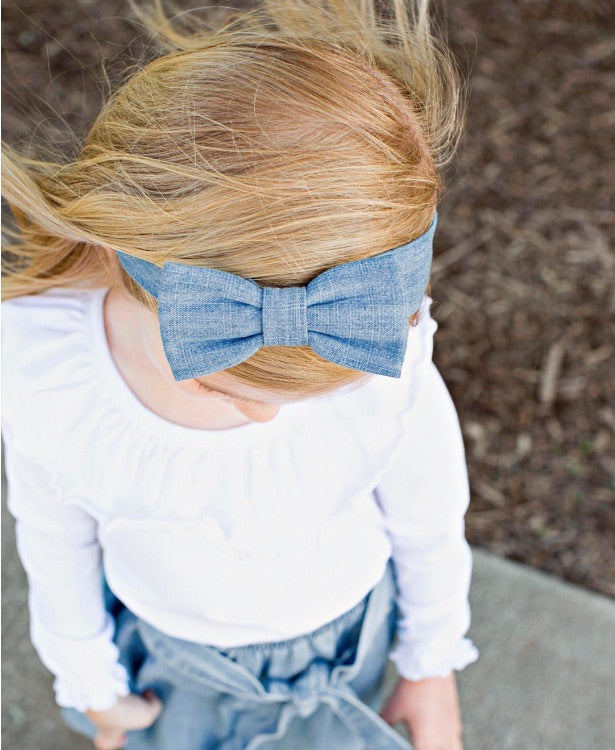 Light Wash Denim Headband  - Doodlebug's Children's Boutique