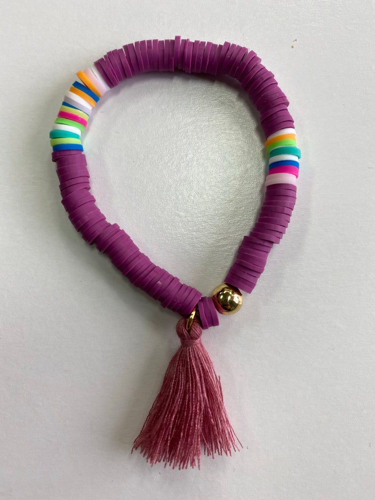 Bracelet with Tassel Purple with Mauve Tassel - Doodlebug's Children's Boutique