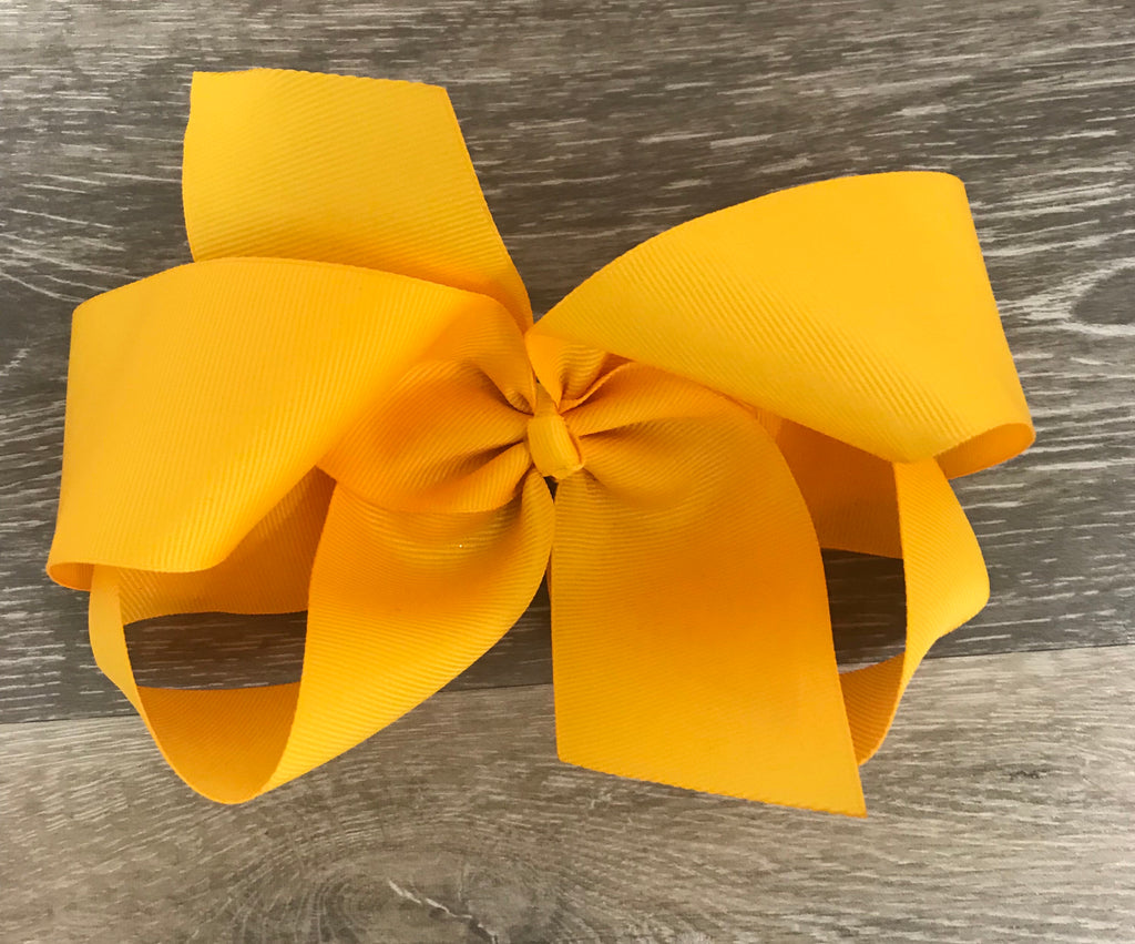 Mustard Large Solid Hair Bow Mustard - Doodlebug's Children's Boutique
