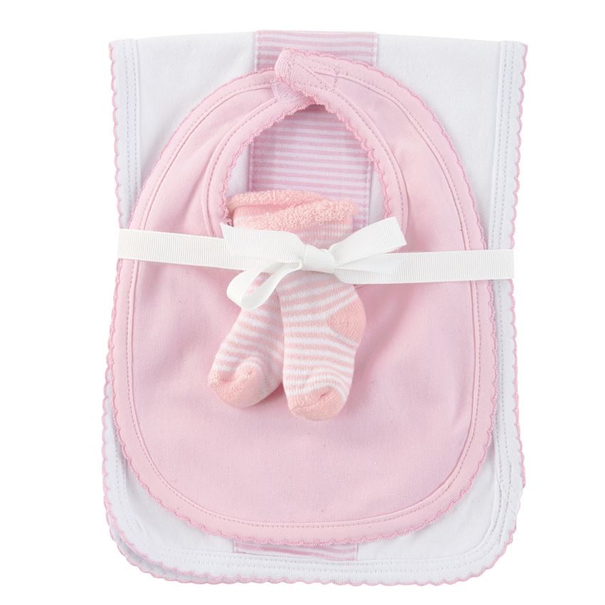 Pink Burp Bib and Sock Set  - Doodlebug's Children's Boutique