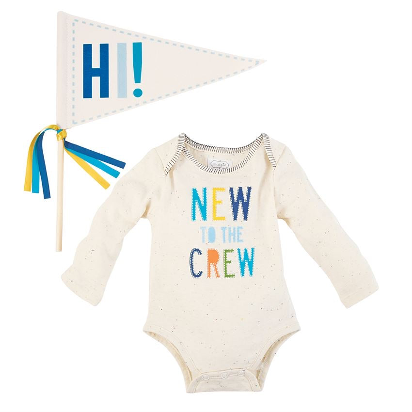 Mud Pie Boy Crawler and Pennant Set  - Doodlebug's Children's Boutique