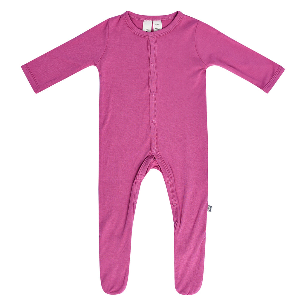 Footie in Sangria Sangria / 0-3 months - Doodlebug's Children's Boutique