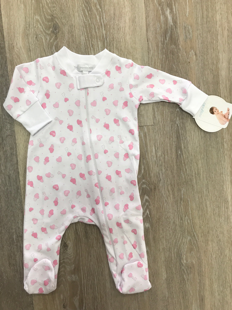 Magnolia Baby Sweet Valentine Printed Zipped Footie  - Doodlebug's Children's Boutique