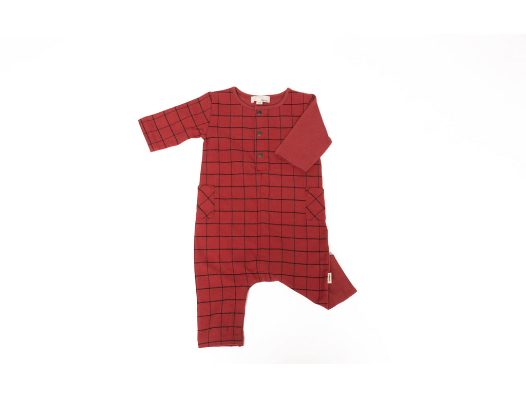 The Remix Romper In Maple Red Mix  - Doodlebug's Children's Boutique