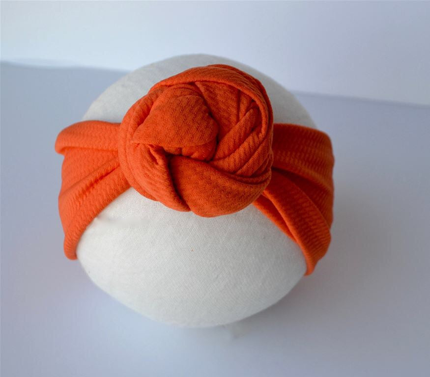 Orange Top Knot Headband Orange / Size 1 (newborn-6 months) - Doodlebug's Children's Boutique