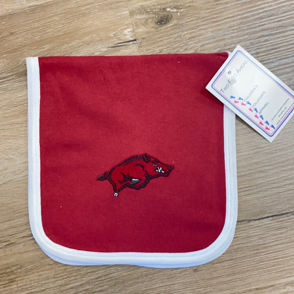 Arkansas Razorback Burp Cloth  - Doodlebug's Children's Boutique